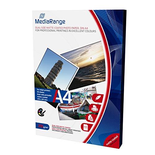 fotopapier matt a4 MediaRange DIN A4 Fotopapier für Tintenstrahldrucker, beidseitig matt, 200g, 50 Blatt