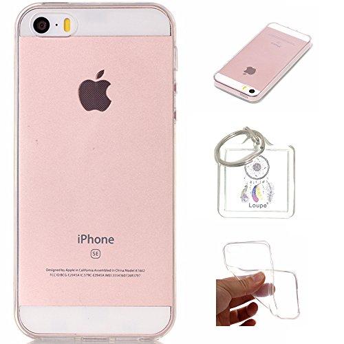 Preisvergleich Produktbild Hülle iPhone 5S/5/SE Hülle Soft Flex Transparent Silikon TPU Handyhülle Schutzhülle für iPhone 5S/5, iPhone SE Case Cover - Crystal Clear + Schlüsselanhänger (P) (1)