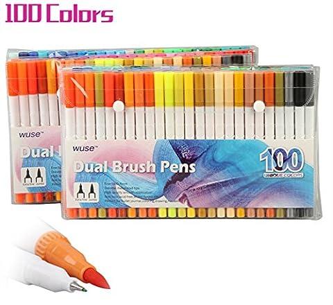 100Color Pinsel Stifte mit Fineliner Spitze, Dual Spitze Marker Stifte für Färben Buch, skizzieren, Malen, Zeichnen, Manga Fashion Design
