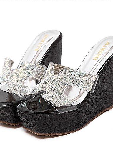 LFNLYX Chaussures Femme-Habillé-Noir / Argent-Talon Compensé-Compensées / A Plateau / Bout Ouvert-Sandales-Synthétique Black