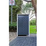1schöner-wohnen24Modelo No. 7Antracita Gris para cubos de basura 240Litros/Resistente a la intemperie con revestimiento de polvo/con Tapa y puerta delantera