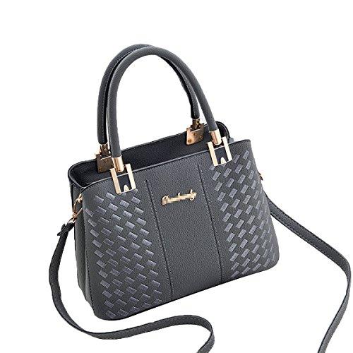 Damen Elegante Top-Griff Schultertasche Handtasche Tote Handtasche Ledertasche Grey