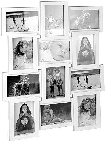 Fotorahmen Bilderrahmen Fotogalerie für 12 Fotos 10x15 cm (Weiß)
