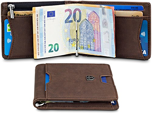TRAVANDO Geldbeutel Männer mit Geldklammer ATHEN Kartenetui Slim Portemonnaie Wallet Portmonaise Herren Geldbörse Männer klein Münzfach RFID Kreditkartenetui Brieftasche Portmonee Geschenk