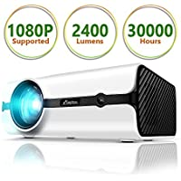 """Projector, ELEPHAS Video Projector Portable Mini Multimedia 170"""" LED Movie Projector Support 1080P for Home Cinema Entertainment Parties Games [2018 Upgraded]"""
