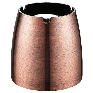 Ecooe XL Windaschenbecher Edelstahl Aschenbecher für Outdoor & Indoor Groß Metall Tisch Ascher (Farbe Kupfer)