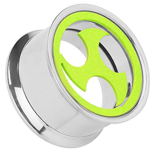 Piersando Flesh Tunnel Ohr Plug Piercing Ohrpiercing Schmuck Schraub Edelstahl Ohrtunnel mit Triskele Farbig Neon Gelb 16mm