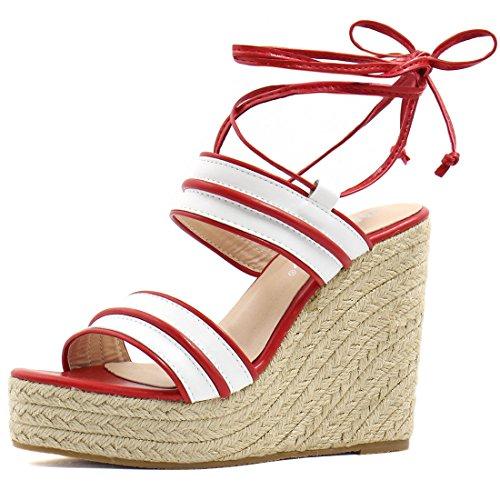 Allegra K Damen gestreift Knöchel Krawatte Espadrille keilförmige Schuh Sandalen, Rot/EU 37 (Knöchel-espadrille)