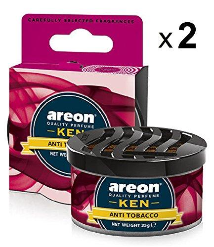 Areon Ken Ambientador Coche Hogar Aire Antitabaco Casa Lata Debajo Asiento Olor Perfume Original Rojo 3D ( Anti Tobacco Pack de 2 )