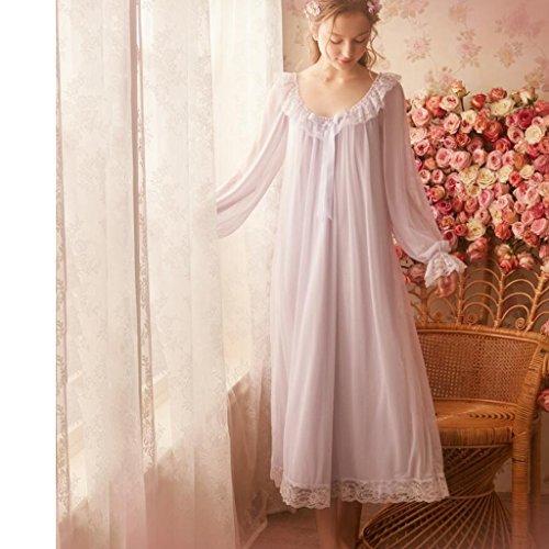 Pyjamas Retro Sleeping Rock weibliche Frühling und Sommer Spitze Home Service Kleid Ice Silk Sexy Frauen Lange Ärmel GAOLILI (Farbe : Helles Lila, größe : M)