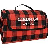 Hikes&.co - Manta de picnic con forro impermeable, 190 x 140 cm, franela a de algodón suave, diseño a cuadros, color rojo y negro, portátil y a prueba de arena de playa, para festivales, parque o senderismo