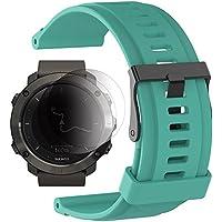 Suunto Traverse/Traverse Alpha Band mit Displayschutzfolie, TUSITA Ersatz Soft Silikon Armband Sport Strap WristBand Zubehör für Suunto Uhr