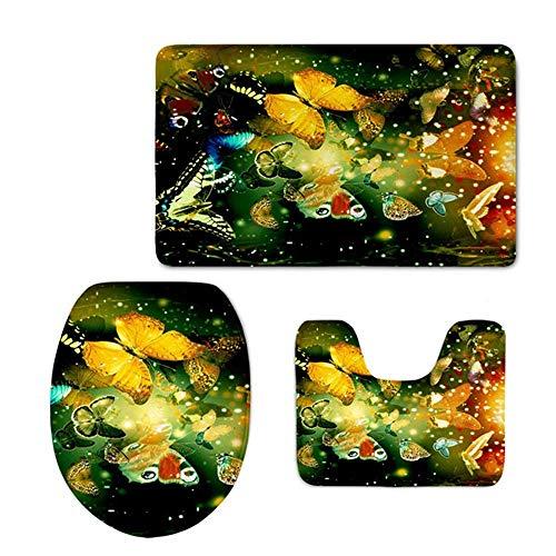 Zengyan Toilet Set 3 Piece Bathroom Set Mat Rug Non-Slip Contour Rug Toilet Lid Cover and Bath Mat - Pink Orange Flowers Pink Orange Flowers - Contour Licht Blau Stoff