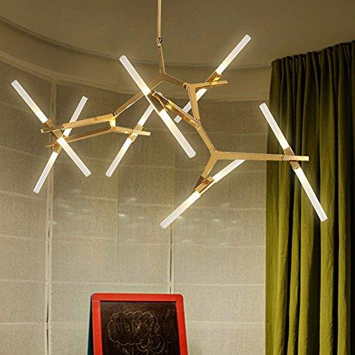Moderne Industrie Kronleuchter Metall Adustable Branch Pendelleuchte Acryl  Deckenleuchte Für Esszimmer Wohnzimmer (14 Lichter Gold)