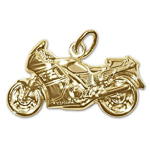 CLEVER SCHMUCK Goldener Anhänger Motorrad 23 x 13 mm beidseitig plastisch geformt und glänzend 333 Gold 8 Karat