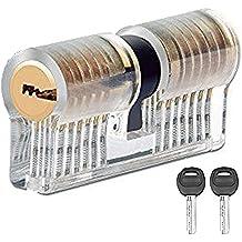 Cerradura de cilindro JTENG bloqueo bloqueos de bloqueo de la práctica transparente candados ejercen cilindro con 2 llaves para una estable principiantes Schlosser