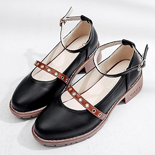 RUGAI-UE In pelle di bocca poco profonda scarpe scarpe di fibbia Black