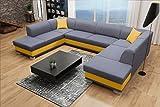 Sofa Couchgarnitur Couch Sofagarnitur DARCO als U Form mit Schlaffunktion, 2 Bettkästen mit komfortablem Federungssystem. Ottomane links oder rechts kostenlos wählbar (Inair 94 + Soft 12)