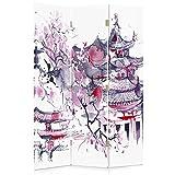 Il paravento stampato su telo,il divisorio decorativo per locali, bilaterale, a 3 parti, 360° (110x180 cm), CILIEGIO GIAPPONESE, ASTRATTO, VIOLA