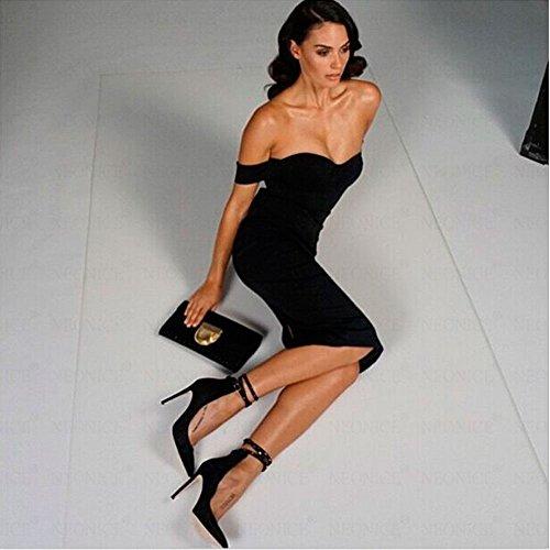 HLBandage Women's Sexy Slash Neck Off Shoulder Midi Bandage Dress Nero
