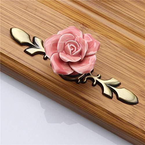 `StarEmpty 2 stücke Keramiklegierung Unterschrank Zieht Rosa Rose Küche Türgriffe Schublade Schrank Schrank Kleine/Große Knöpfe Möbel Zubehör @ A_170mm -