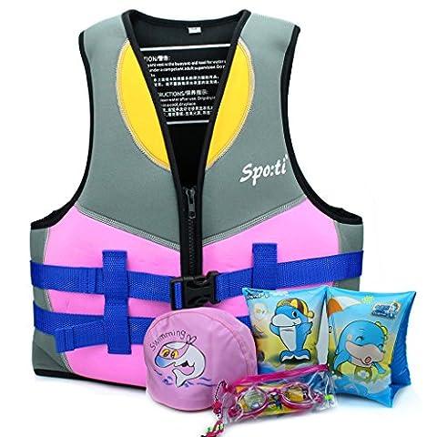 Genwiss Enfants Veste de bain / Gilet de natation 5 à 6 ans - Rose comprendre Nager Arm Band et Lunettes de natation et Bonnet de bain