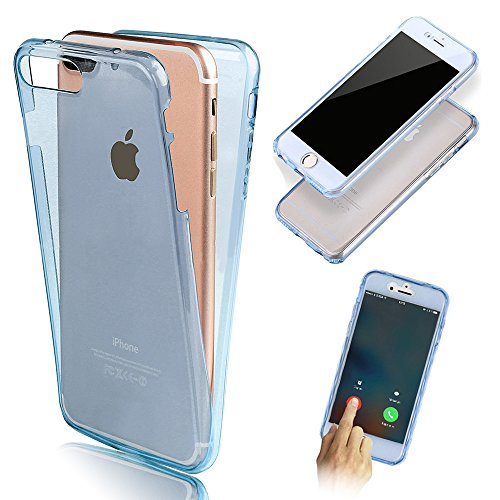 iPhone 7 Plus Coque Gel TPU Silicone Etui Intégrale Transparent Case pour iPhone 7 Plus 5.5 Pouces Housse Protection Full Silicone Souple Case, Vandot iPhone 7 Plus Ultra Mince Fine Slim Leger Tactile Transparent-Bleu
