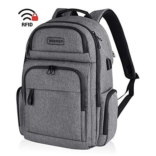 KROSER Reise Laptop Rucksack 15,6 Zoll Stilvoller Wasserdicht Business Rucksack Schulrucksack Backpack Daypack Mit USB und RFID-Taschen für Arbeit/College/Männer/Frauen-Grau MEHRWEG