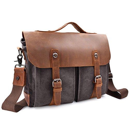 Newhey borsa messenger vintage lavoro uomo briefcase pelle tela canvas per grande dimensioni 14