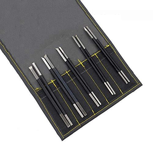 YXMxxm 10 Stücke Kohlenstoffstahl Stein Carving Tool Set Kit w/Ledertasche, Beruf DIY Handwerk Holzschnitzerei Hand Geschnitzte Werkzeug