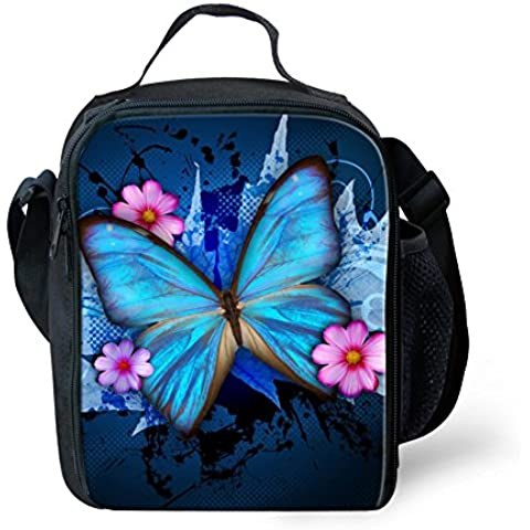 HUGSIDEA Blue Butterfly Print Kids Lunch Box Tote Bag for Outdoor Picnic School by HUGSIDEA