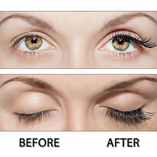 Magnetisch Wimpern von Fstyle,Wiederverwendbare Künstliche Wimpern Natürlicher Look,Ultra Dünne Faser ohne Kleber Allergie,Grausamkeit frei,1 Paar 4 Stück Handgemachte (Halb Lang Ultra Dünn)