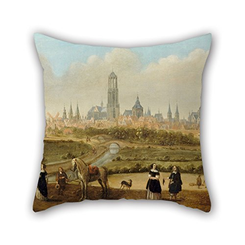 beautifulseason The Oil Painting Joost Cornelisz. Droochsloot - View on The City of Utrecht Pillow Cases of,16 X 16 Inches/40 by 40 cm Decoration,Gift for Home Office,Monther,Floor,Pub,Birthday,l