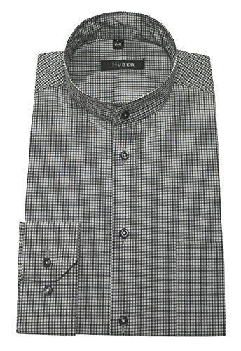 Stehkragenhemd schwarz-weiss XL