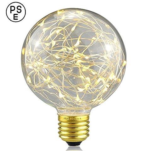 Dekoratives Licht Leuchtmittel, xinrong New Edison LED Sternenhimmel Kupfer Draht Lights E27Sockel 220V 3W energiesparender Vintage Buld für Innen Xmas Urlaub Anhänger Licht Dekoration, warmweiß, 14.0 * 9.5cm