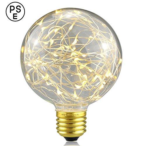 Xinrong Ampoule décorative LED Motif ciel étoilé Filaments Edison en cuivre Culot E27 220 V 3 W Économie d'énergie Style vintage Pour décoration intérieure, fêtes de Noël, suspension , blanc chaud, E27 3.0 wattsW 220.0 voltsV