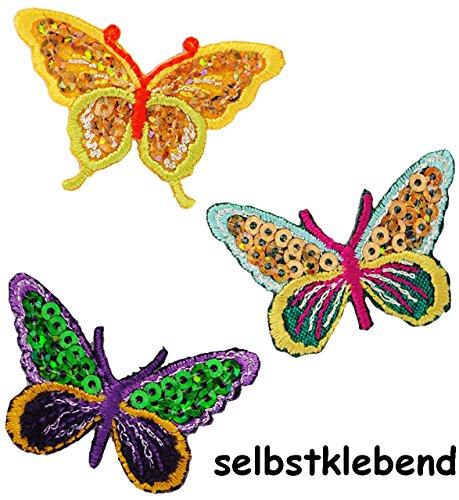9 TLG. Set Textil - Sticker / Applikationen zum Aufkleben, Aufbügeln & Aufnähen -  Bunte Schmetterlinge mit Pailletten  - jeweils 4,3 cm * 2,8 cm - Aufnäher.. -