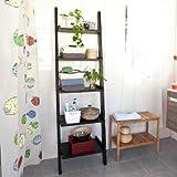 SoBuy Modern Ladder Shelf Made of Wood with Five Floors, stand shelf, wall shelf, 56x189cm FRG17-SCH
