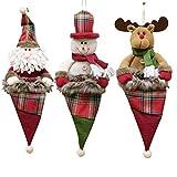 GTUKO Weihnachtsschmuck, Santa/Schneemann / Rentier handgefertigte Personalisierte Bestickt, Set 3, Style-1