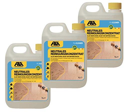 Fila 3X 1l Cleaner neutrales Reinigungskonzentrat für Marmor, Naturstein, Terrakotta, Cotto, Holz, Laminat 3X 1l. für bis zu 4500 qm -