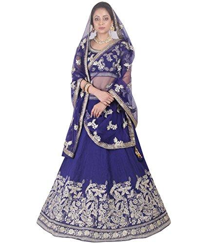 Indian Ethnicwear Bollywood Pakistani Wedding Blue A-Line Lehenga Semi-stitched-DIVISL032