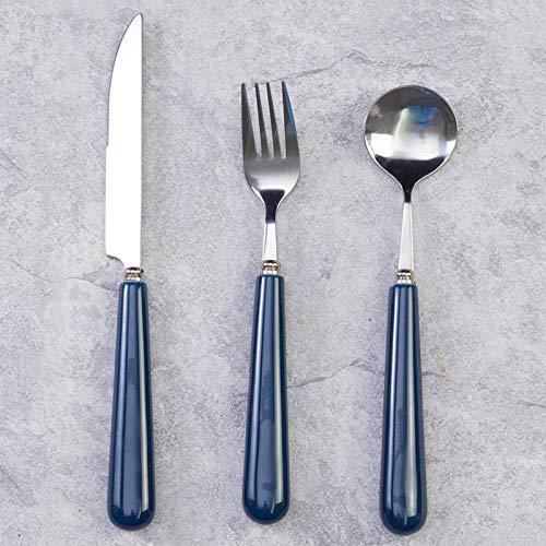Steakmesser- und Gabelplatten-Set Edelstahl Home Western Geschirr Hochwertiges europäisches Messer- und Gabellöffel 3-teiliges Komplettset, blaue Tonplatte 10 Zoll
