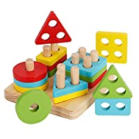 KanCai Wooden Educational Toddler Toys Geometric Shapes Block Board Stack Sort Chunky Puzzle Colour Sorting, Stacking Plugging Toys