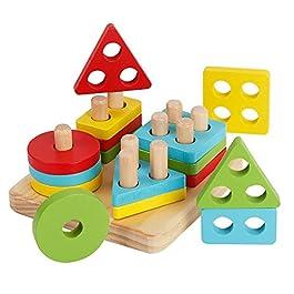 Afunti Puzzle Forme Geometriche Legno Impilatore Giocattoli Montessori Blocchi Costruzioni in Legno