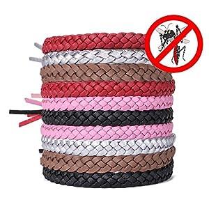 AcTopp Bracelets Anti Moustique pour Adultes et Enfants Protection Extérieure Intérieure 100% Naturel sans Deet 10 Packs 5 Couleur PU