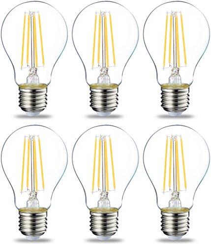 AmazonBasics Lampadina LED E27 a Filamento, 7W (equivalenti a 60W), Luce Bianca Calda - Pacco da 6