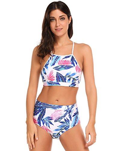 Ekouaer Damen Bikini-Set high waist Badenanzug Blumendruck Push up Swimsuit Zweiteilig Schwimmanzug Grün
