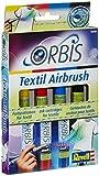 Orbis Airbrush, Orbis-Farbpatronen, Textilfarbset, zum sprühen auf hellen Textilien, Fixierung durch Bügeln, waschbar bis 30 Grad, einfacher Wechsel der Airbrushfarben, gelb, rot, blau, schwarz 30400