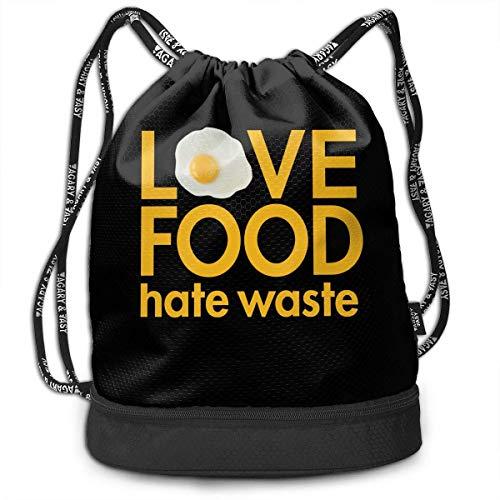 (BAOQIN Love Food Hate Waste Print Drawstring Bags - Simple Gym Shoulder Bags)