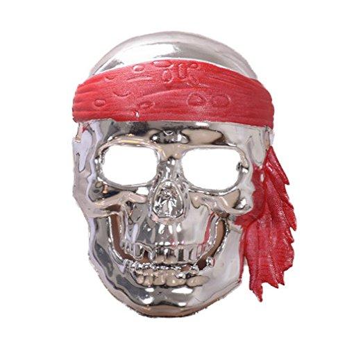 aske Horror Scary Skelett Piraten Halloween Party Bar Kostüm Masquerade Maske (Silber) (Scary Skelett Halloween Kostüme)